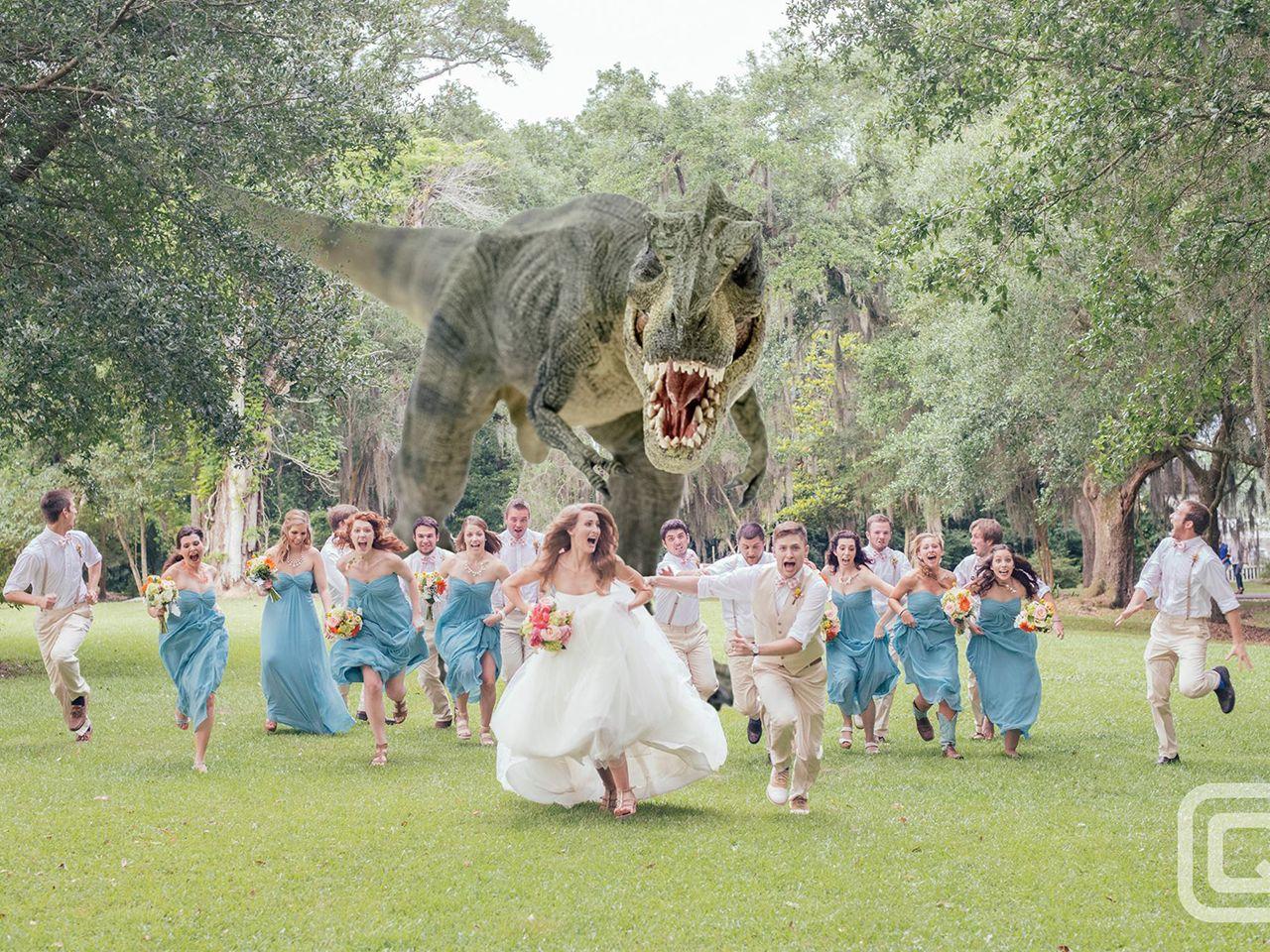 Photographer Explains T Rex In Best Wedding Pic Ever Funny Wedding Photos Creative Wedding Photo Dinosaur Wedding