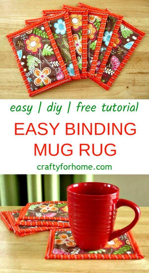 Easy Binding Mug Rug #sewingcrafts