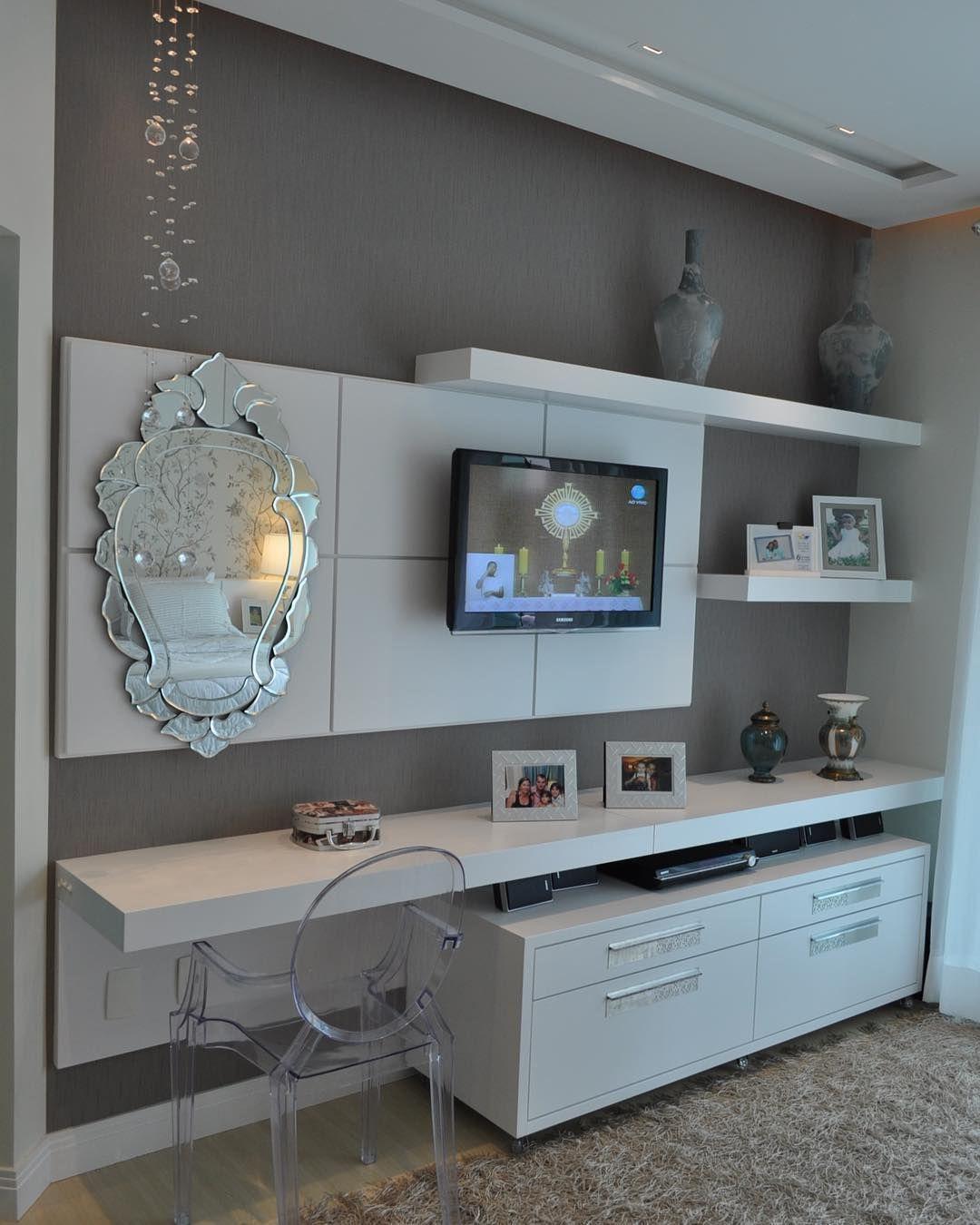 1 163 Curtidas 20 Coment Rios Design Interiores Decor  ~ Painel Para Tv Quarto Com Bancada
