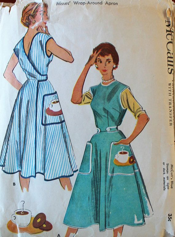 Vintage Sewing Pattern - 1950s Wrap-Around Apron Pattern - McCall\'s ...