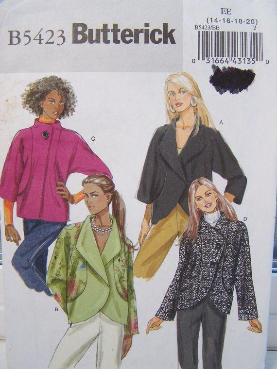 Butterick B5423 Women S Jacket Pattern Loose By Witsenddesign