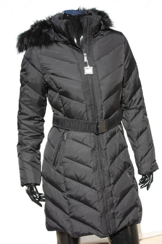 Womens Puffer Coats DKNY Donna Karan Hooded Black Down