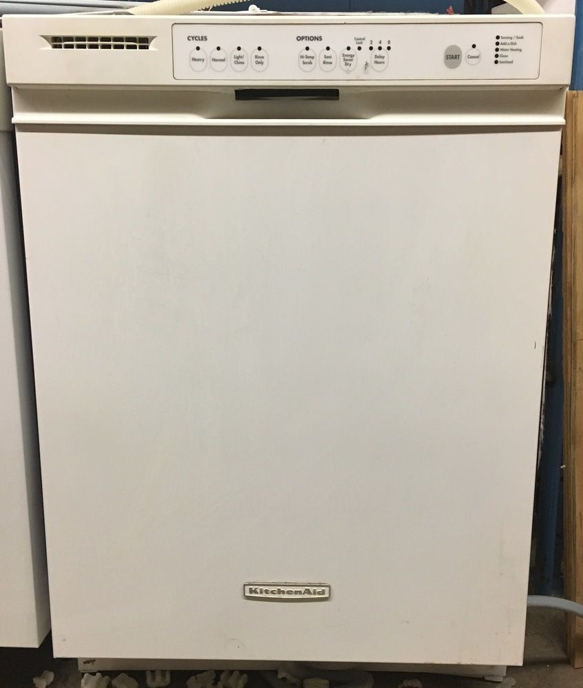 White KitchenAid Dishwasher Stainless Steel Tub