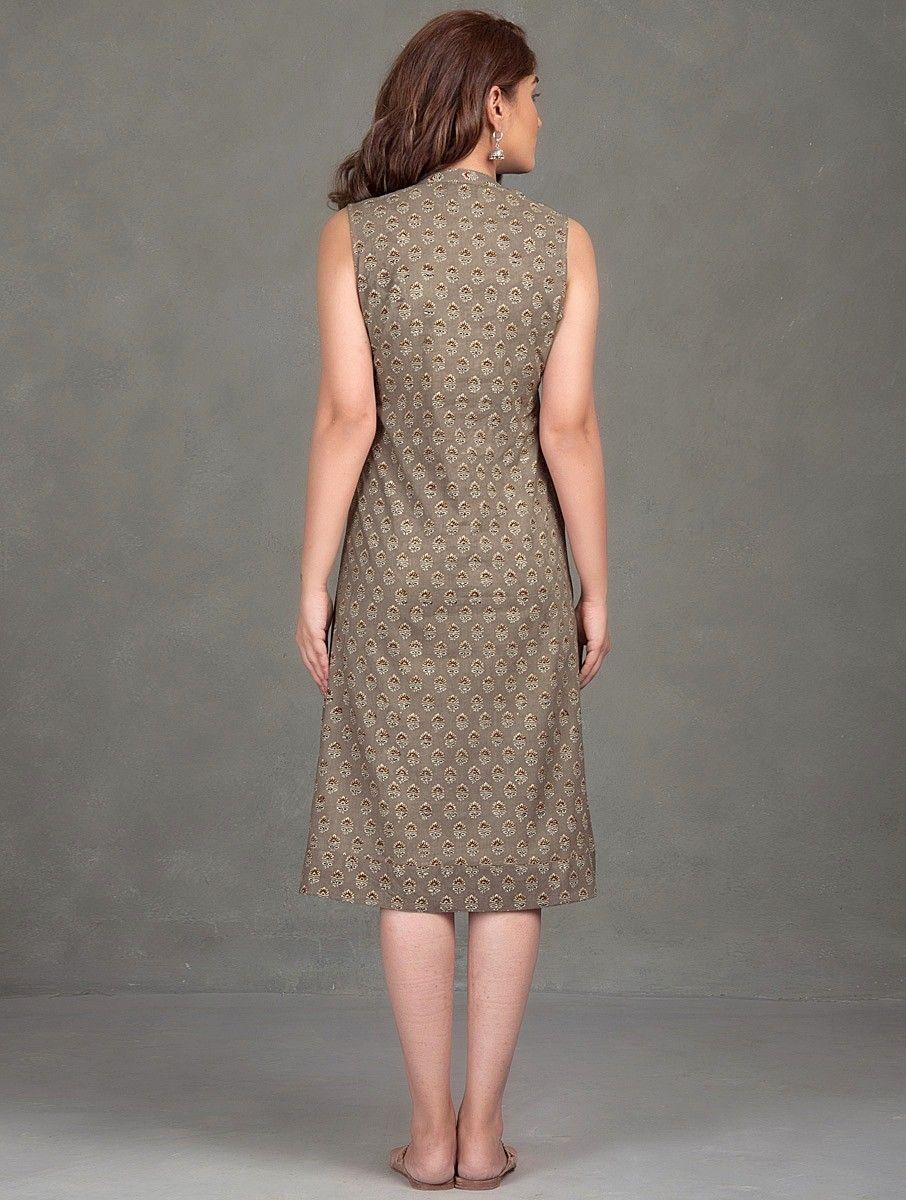 Buy Brown-Madder Ajrak Printed Pleated Yoke Cotton Dress Online at Jaypore.com