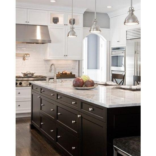 Gray Walls, White Shaker Kitchen Cabinets, Granite Counter Tops, Dark Kitchen Island, White