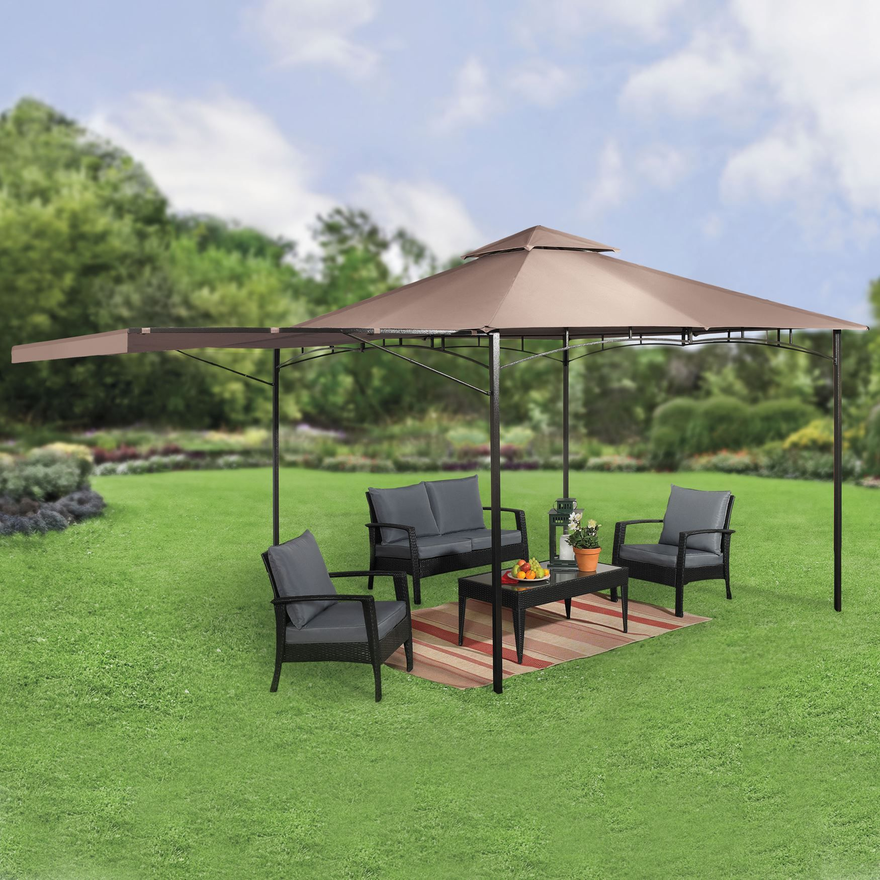10 x10 Gazebo with Fold Out Extended Canopy