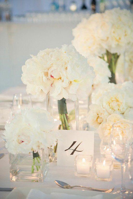 Centre De Table Blanc Decoration Mariage Fleurs Blanches