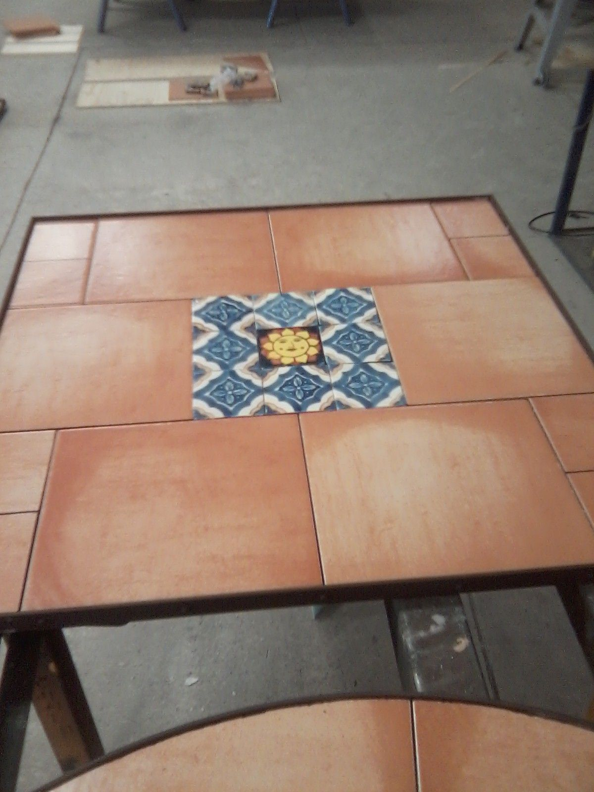 Ceramic tile table top wmexican tile inserts iron furniture ceramic tile table top wmexican tile inserts dailygadgetfo Gallery