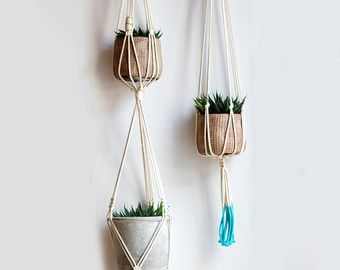 Cotton Hanging Table Holder Boho Hanging por iheartnorwegianwood