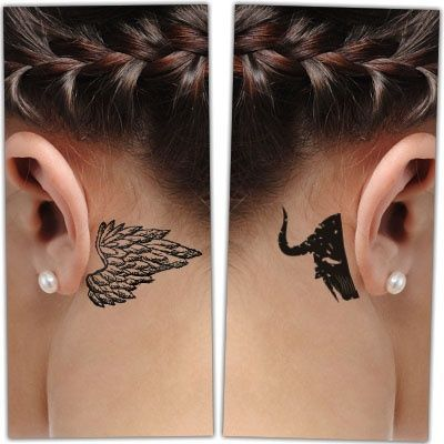 Woman With Behind The Ear Angel And Demon Tattoo