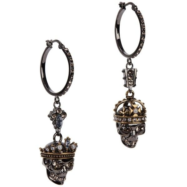 Womens Earrings Alexander Mcqueen King And Queen Silver Tone 540 Liked On Polyvore Featuring Jewelry Pearl Pendant Skull