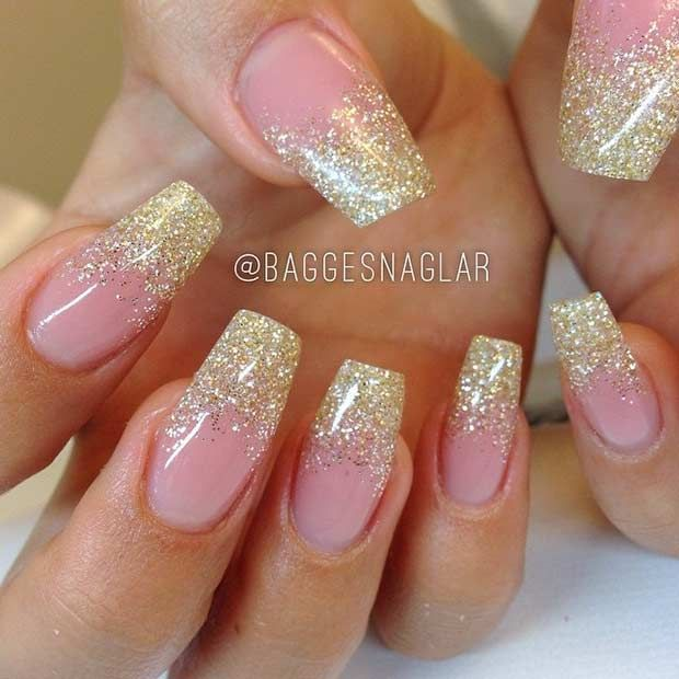 Gold Glitter Ombre Coffin Nails