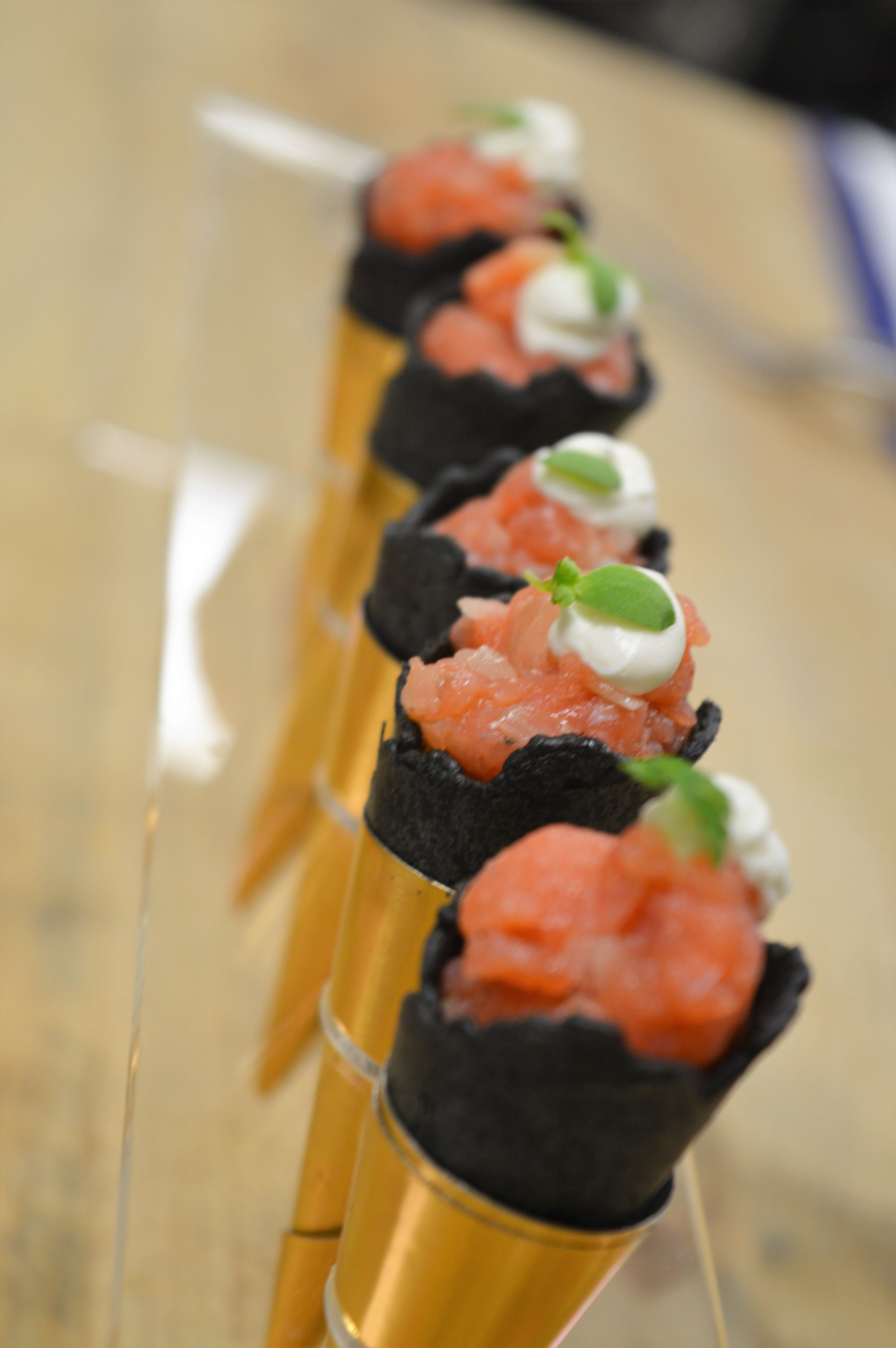 SALMON TARTARE WITH VODKA LEMON CREAM IN A SAVORY CONE  TRAY PASSED OPTION - SALMON TARTARE WITH VO