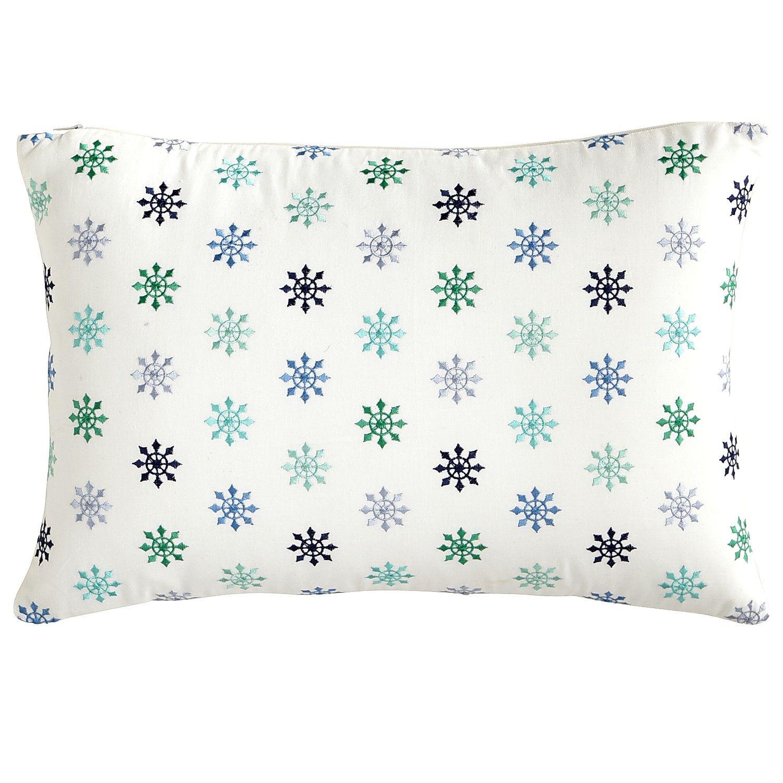 Blue Starburst Embroidered Pillow - Lumbar