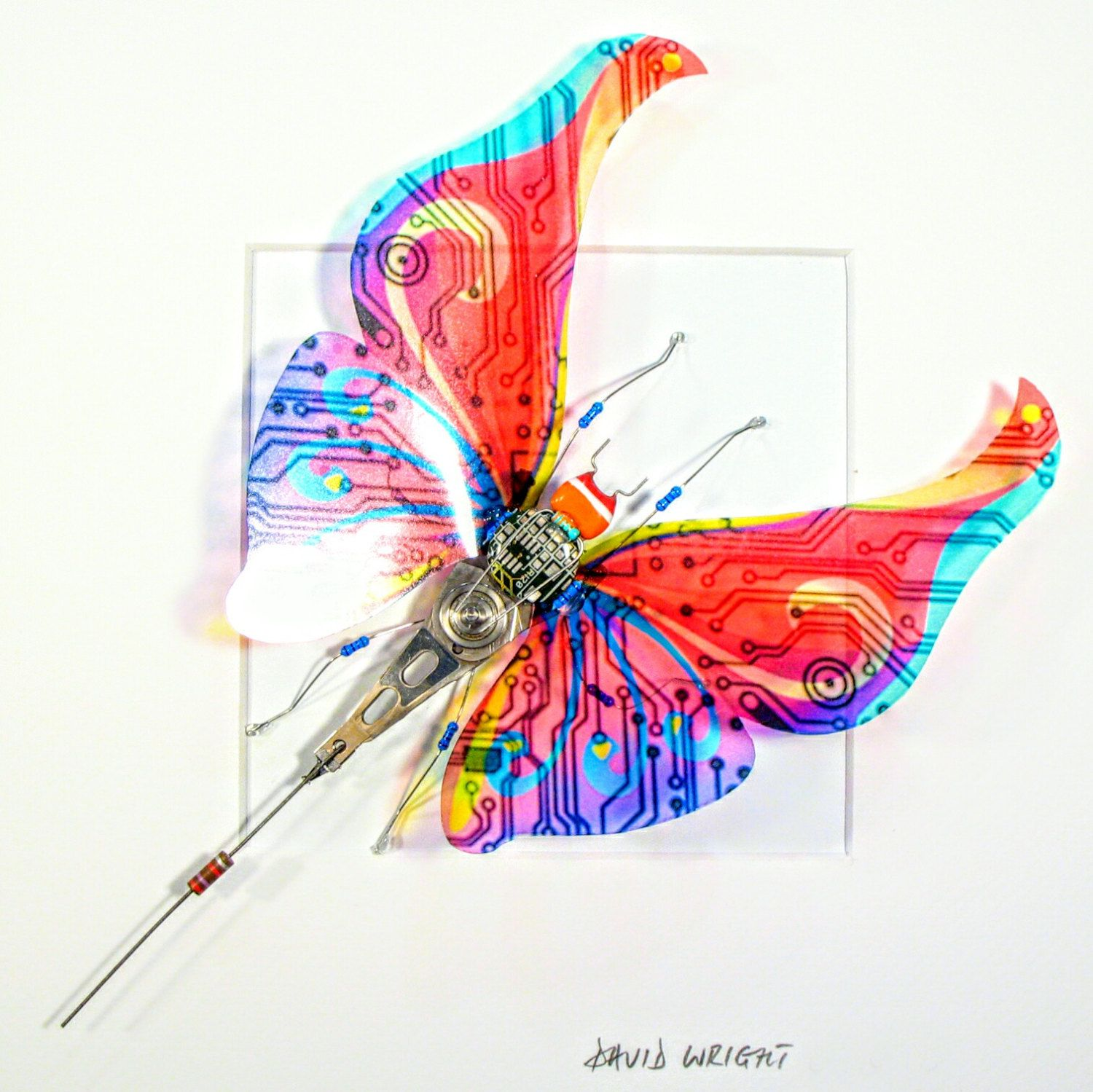 Beautiful Recycled Computer Butterfly  Computer Bug  Insect Art