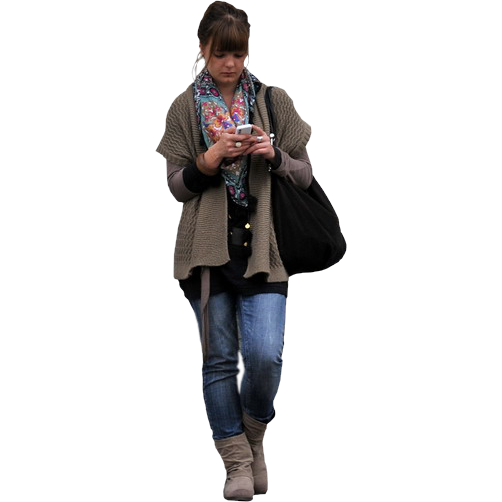 woman texting immediate entourage rendering people