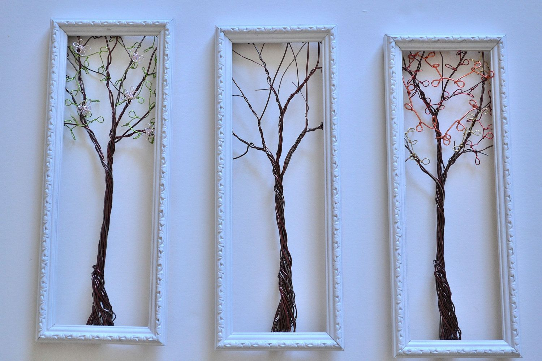Framed Wall Art Or Jewelry Organizer Holder Wire Tree With Spring Winter And Fall Leaves Useful Wi Arboles De Alambre Figuras Con Alambre Oficios Artisticos