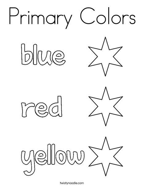 Primary Colors Coloring Page Twisty Noodle Primary Colors Color Worksheets For Preschool Color Activities