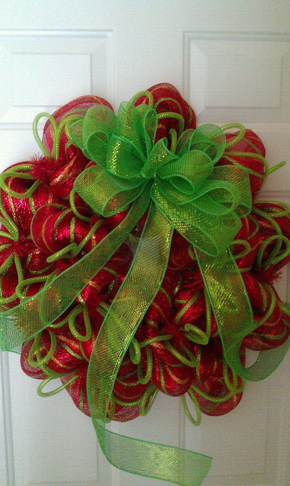 Red Green And Gold Christmas Deco Mesh Wreath