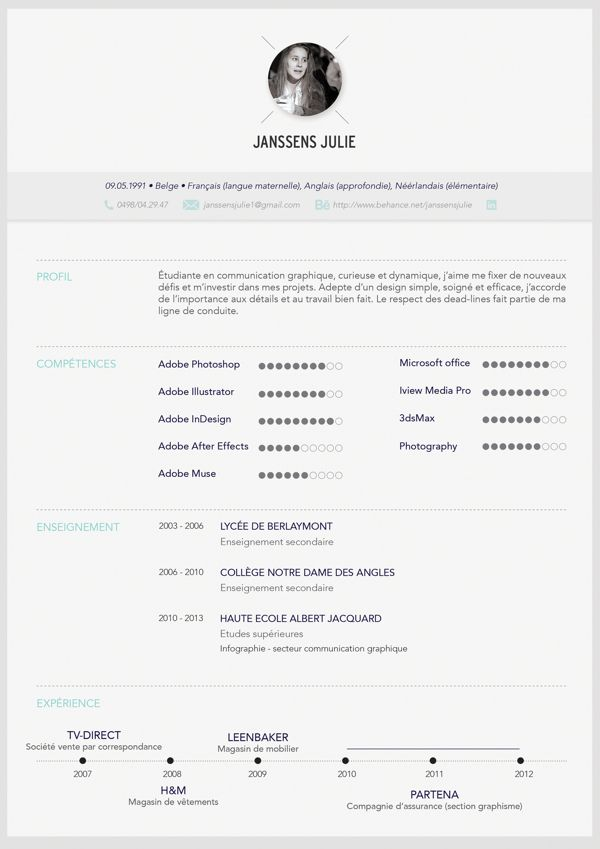 resume by janssens julie via behance designspiration