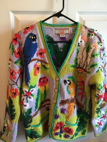 3e2f6d0f102b0 Cardigan-Bay-Tropical-Birds-Parrot-Cockatiels-Hand-Knit-Sweater-Small