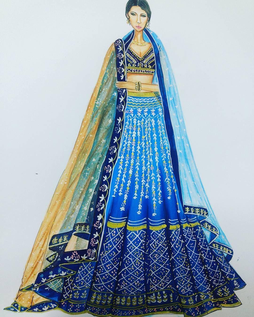 Indian Bridal Wear Illustrationart Illustrator Illustration Illustrations Ill Fashion Illustration Sketches Dresses Dress Design Sketches Dress Sketches