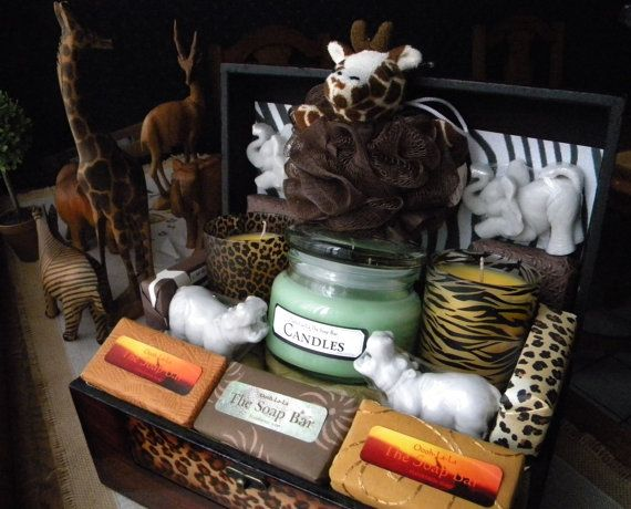Safari Gift Basket Soap And Candles Zoo African Theme