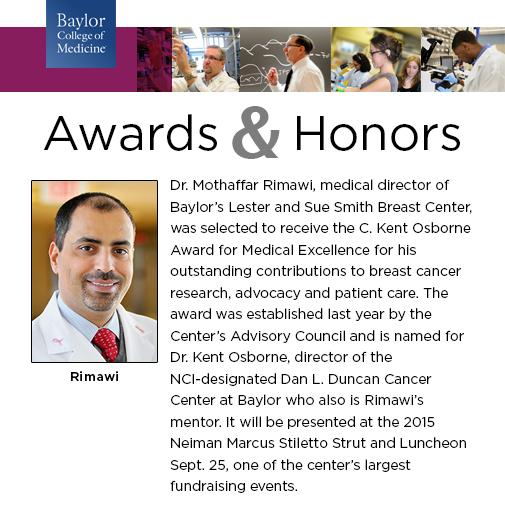 Congratulations Dr  Mothaffar Rimawi, recipient of the C