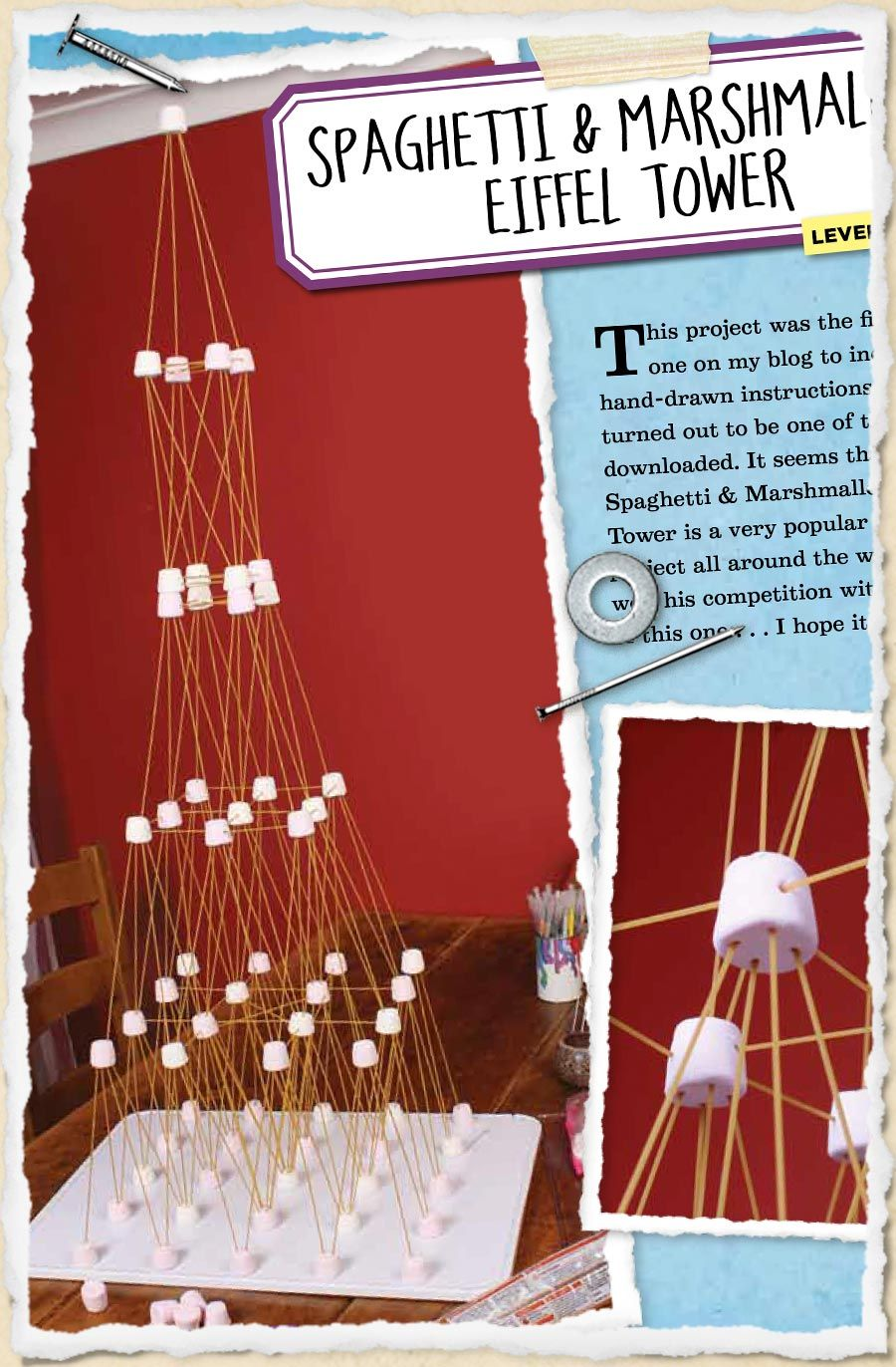 sneak peek 19 spaghetti marshmallow eiffel tower crafts pinterest marshmallow. Black Bedroom Furniture Sets. Home Design Ideas