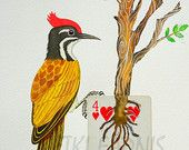 Golden-Backed Woodpecker, Original watercolor painting, 10 x 7 inches,  collage watercolor painting