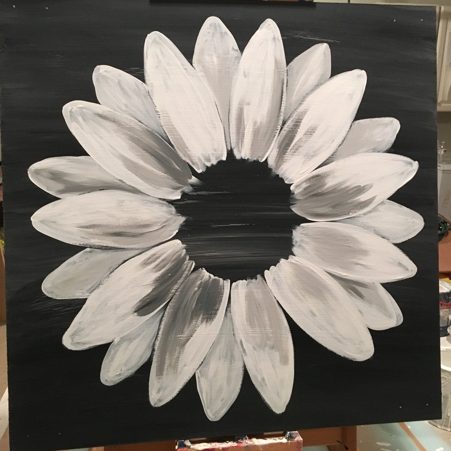 Clarabellearte Shared A New Photo On Etsy Sunflower Canvas Paintings Canvas Painting Diy Black Background Painting