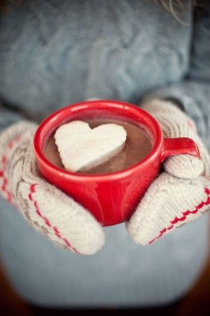Freeze cool whip on a pan and cut out with heart cookie cutters-hot chocolate.