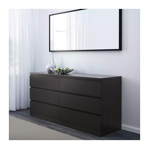 MALM 6-drawer dresser - black-brown | 6 drawer dresser ...