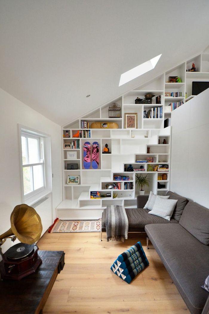 modernes treppenhaus gestalten wohnzimmer treppenstufen schubladen - Offenes Treppenhaus Gestalten