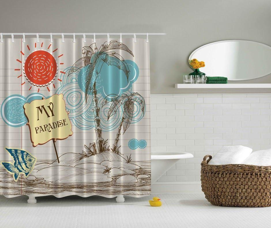 Summer Tropical Island Beach Swim Palm Tree Digital Print Graphic Shower Curtain #Unbranded #Tropical