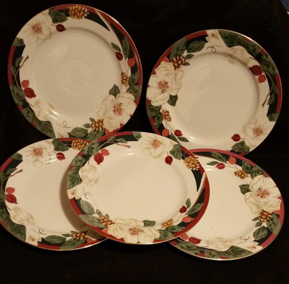 Set of 5 Tienshan Magnolia China Plates 10.5 inches