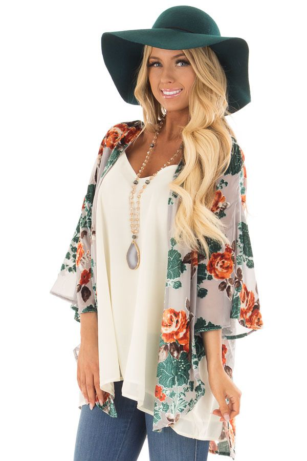 293d42db31986f Lime Lush Boutique - Cement Grey Sheer Kimono with Velvet Floral Print  Contrast