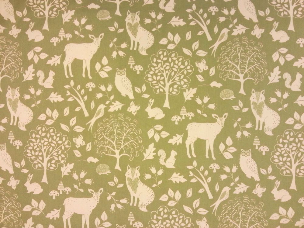 Enchanted Woods Soft Green E35 Cotton Curtain Fabric Childrens