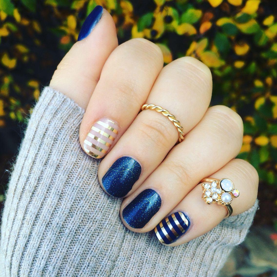 Perfect Navy and Gold mani! Jamberry\'s Stellar, Metallic Gold Stripe ...