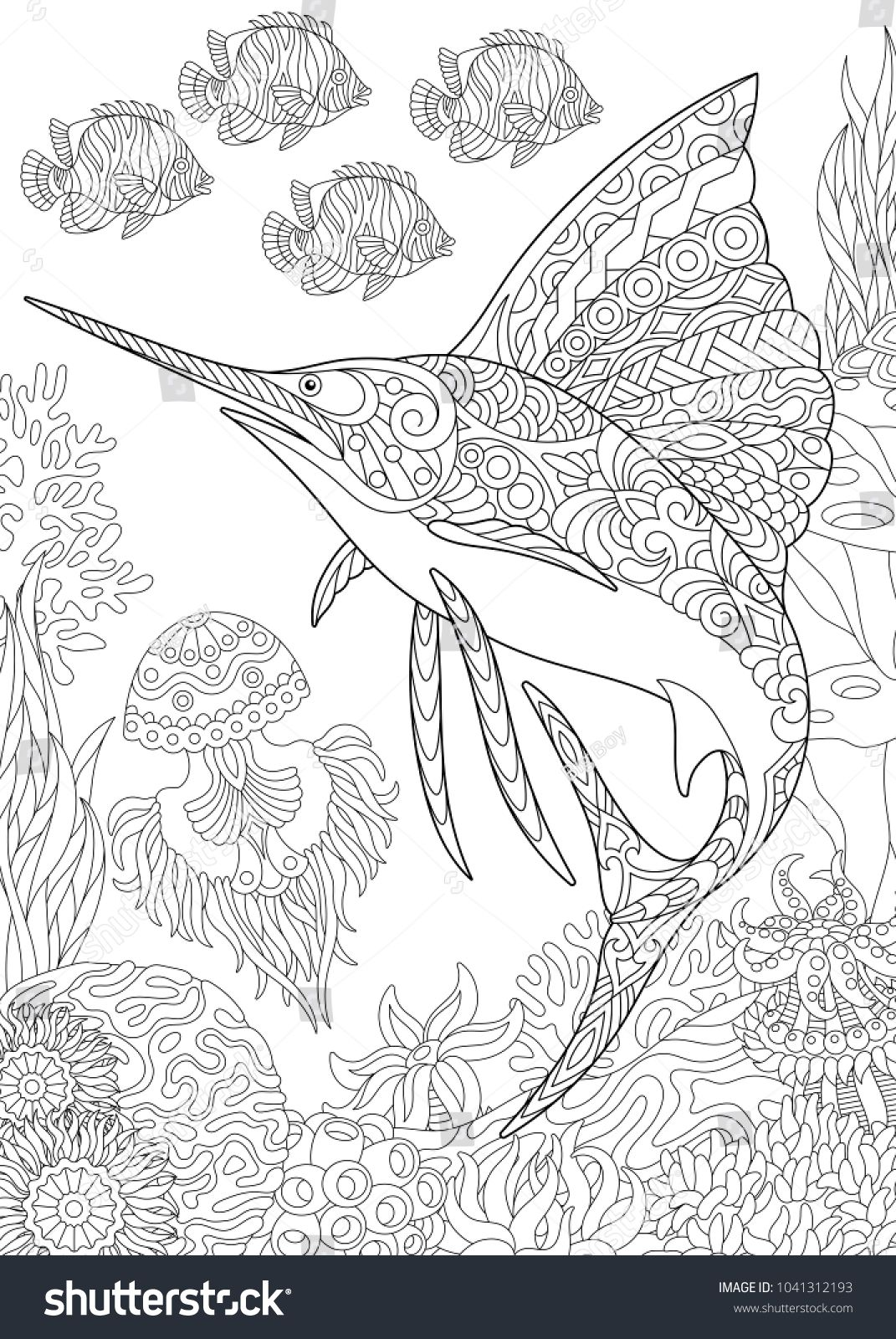Coloring Page For Adult Colouring Book Underwater Background With Sailfish Jellyfish Tropical Fishes And Ocean Plants Antistress Freehand Sketch Drawing