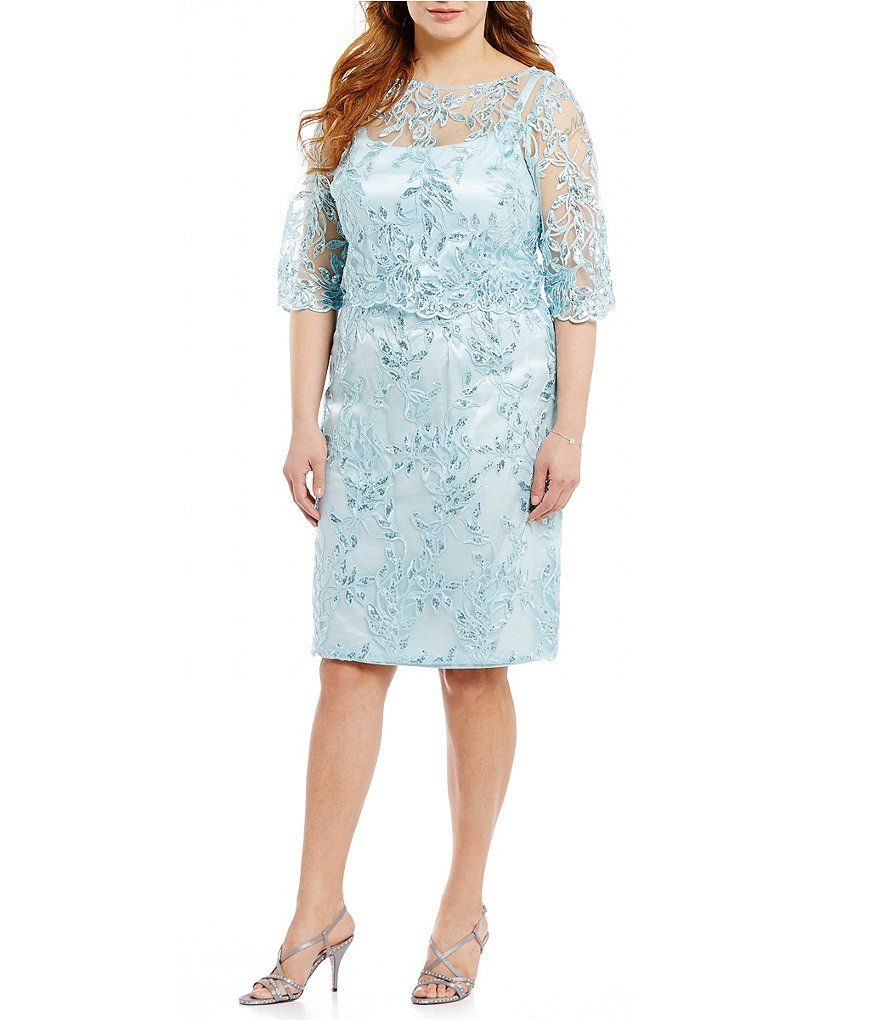 Brianna Plus Sequin Embroidered Popover Sheath Dress | WEDDING DRESS ...