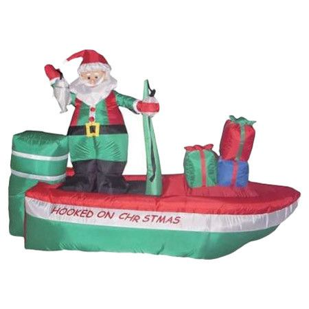 Fishing Santa Inflatable Lawn Decor at Joss and Main Lake time - inflatable christmas yard decorations