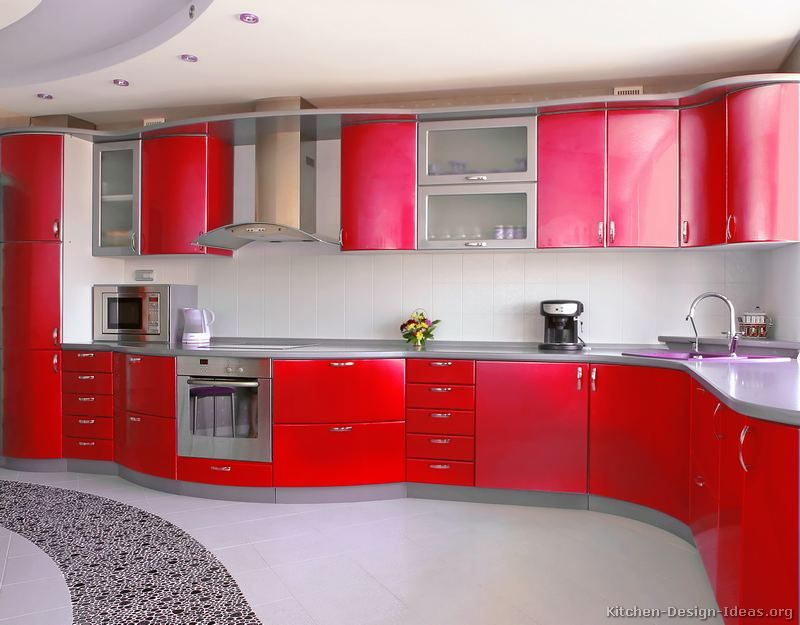 kitchen of the day a bright red kitchen featuring curved cabinets gray countertops