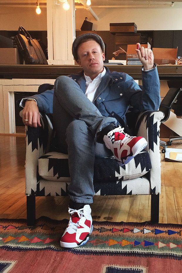 Macklemore in the Air Jordan 6 Carmine