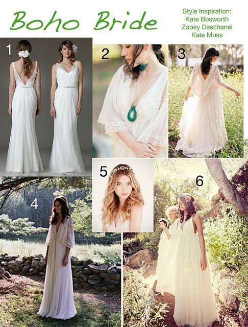 inspiration board of dresses for brides with a bohemian style