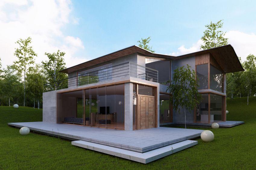 Modern huis met grote ramen architectuur en design woningen