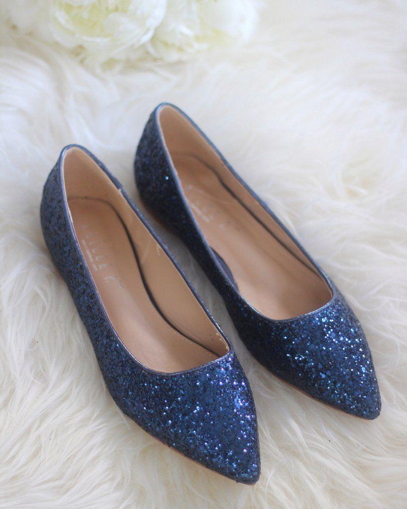 c98d67f7f06a NAVY BLUE Rock Glitter Pointy Toe Flats in 2019