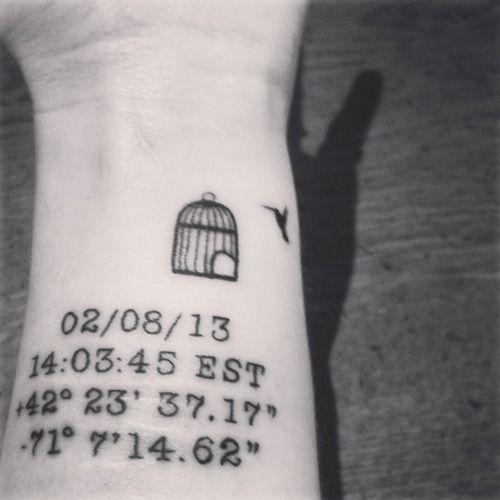 longitude and latitude tattoo with time + date idea for Jess