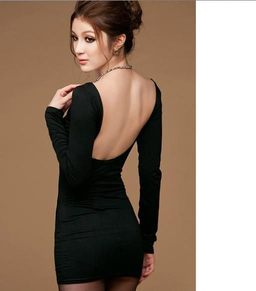 I found 'Fashionable Sexy U Neck Backless Long Sleeve Dress Black' on Wish, check it out!