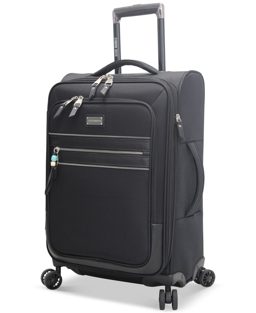 """Steve Madden Patchwork 21"""" Expandable Carry On Spinner Suitcase, Only at Macy's"""